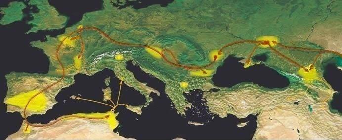 De trektocht van de Alanen tijdens de Volksverhuizingen in de eerste eeuwen na Christus