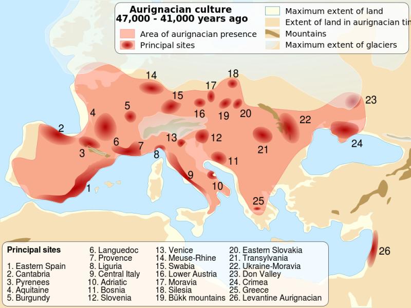 Aurignacian culture map, picture from Wikipedia