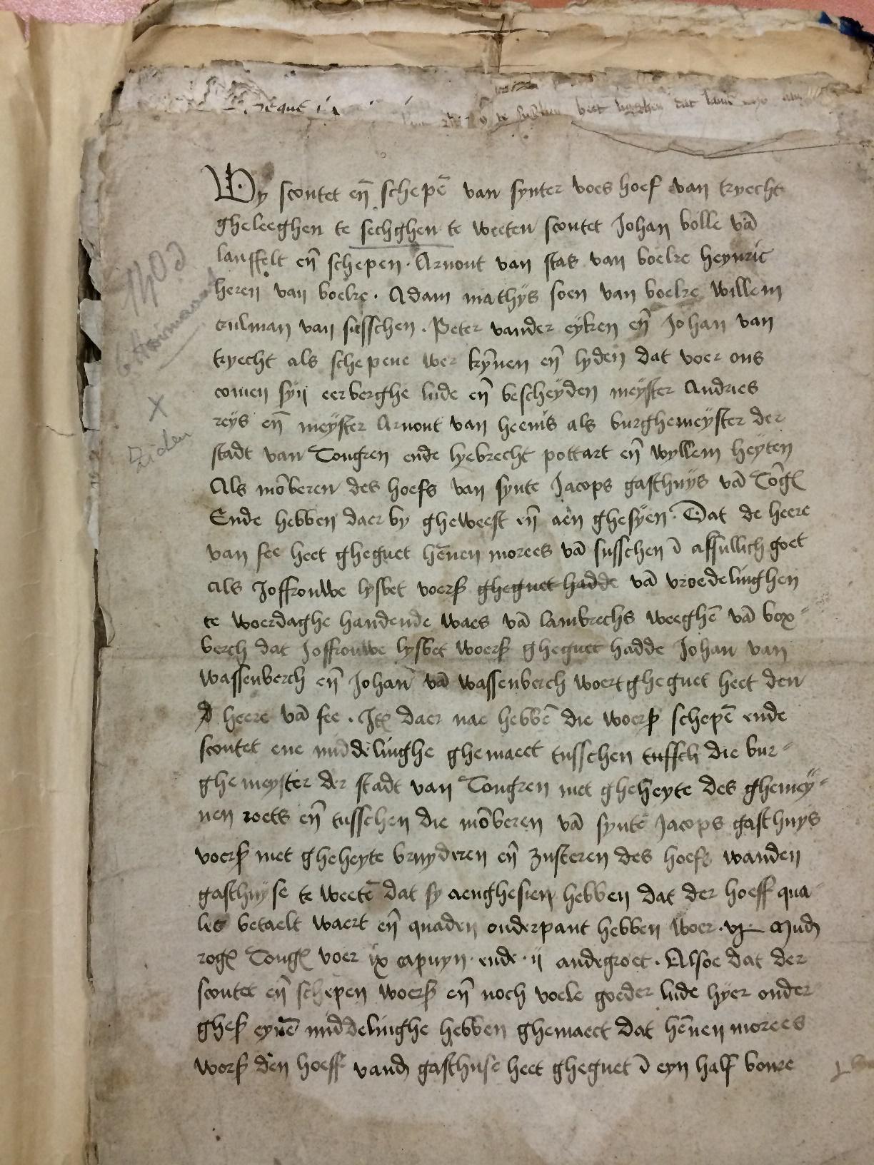Charter van aankoop van het goed van Boxberch in Zussen door Hennen Morees in 1403, voorblad