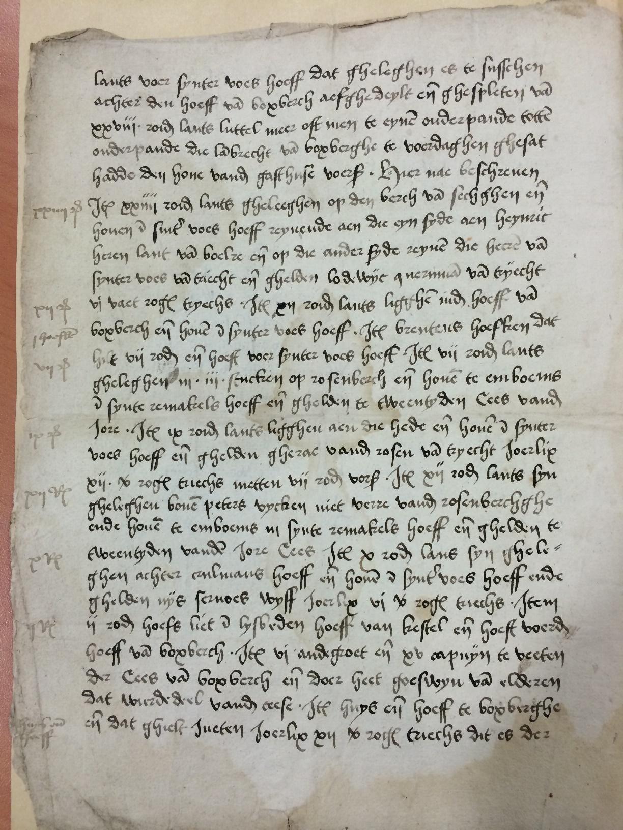 Charter van aankoop van het goed de Boxberch in Zussen door Hennen Morees in 1403, blad 2