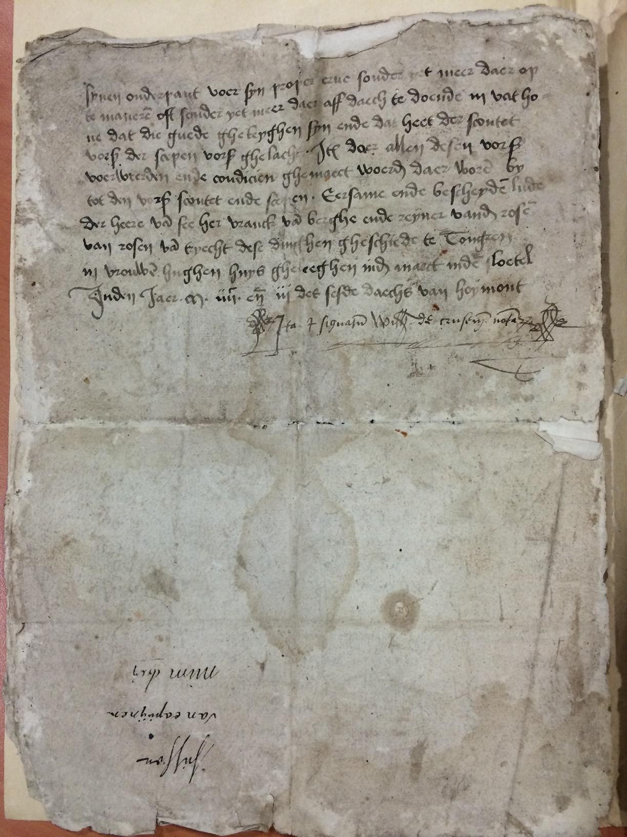 Charter van aankoop van het goed de Boxberch in Zussen door Hennen Moreesin 1403, blad 4