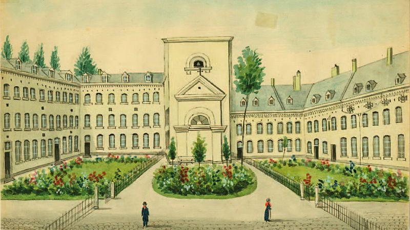 Binnentuin gesticht Calvariënberg Maastricht, Ph. van Gulpen, 1849