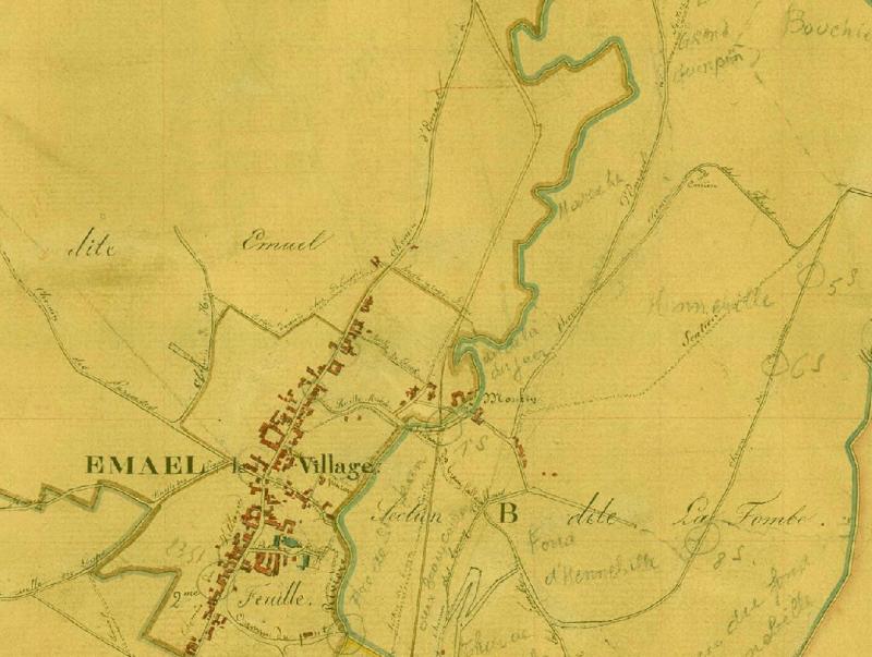 Verzamelings kaert der Gemeente Eben-Emael, sectie B, cadastre primitif, commune: Eben-Emael 1830–1833