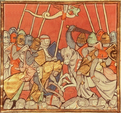 The Battle of Bedigran, from 'The Story of Merlin', c.1280-90 (vellum), French School, (13th century) / Bibliotheque Nationale, Paris, France / The Bridgeman Art Library