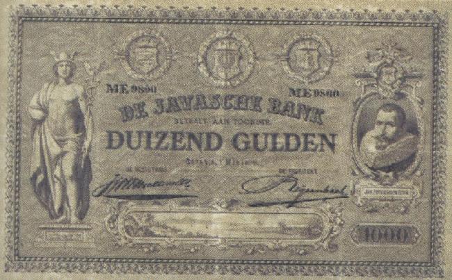 Bankbiljet van duizend gulden van Nederlands Oost-Indië, 1898