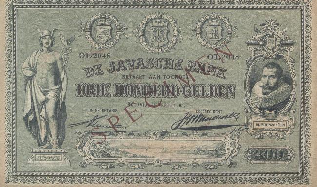 Bankbiljet van driehonderd gulden van Nederlands Oost-Indië, 1901