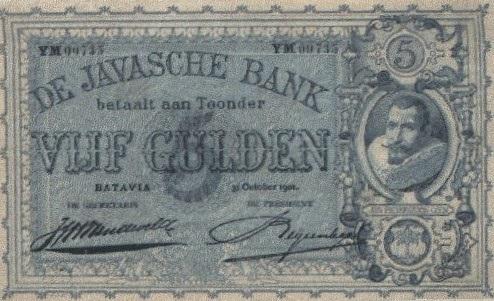 Bankbiljet van vijf gulden van Nederlands Oost-Indië, 1901
