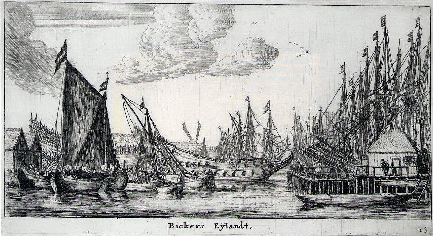 Reinier Nooms, Bickerseiland, 1650/1656, prent 137x250 mm. Coll. Rijksmuseum Amsterdam, inv. nr. RP-P-OB-20.527, Bartsch 71-II; Foto neg.nr.: 37115, 18x24 cm, 2000