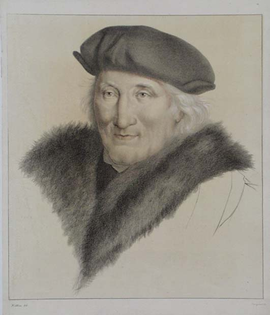 Sir John More, Hand-coloured Lithograph after Hans Holbein