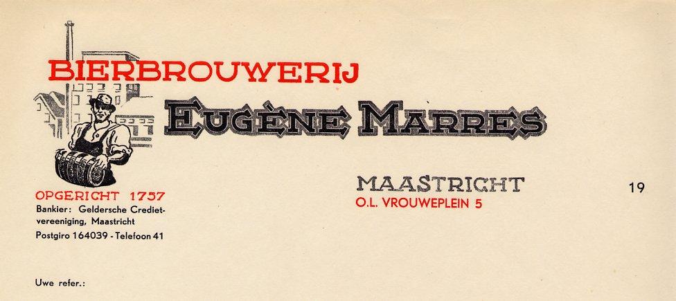 Briefhoofd van bierbrouwerij Eugène Marres te Maastricht.