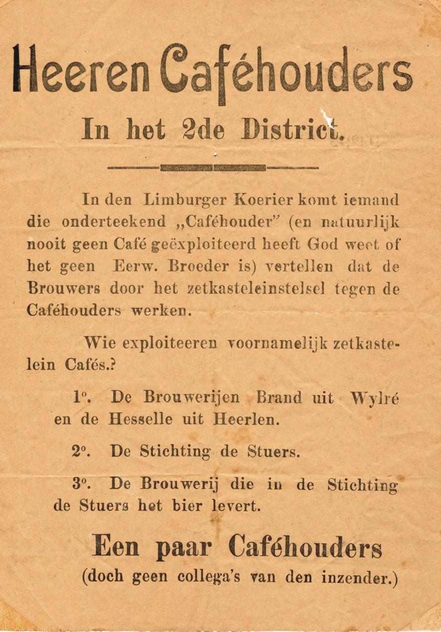 Verkiezingspamflet in café