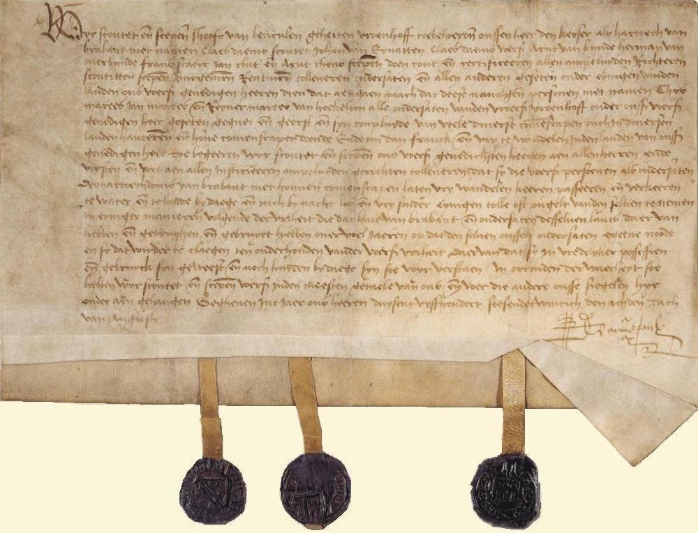 Gezegeld charter uit 1526 dat vrijstelling geeft van tol en accijnsen