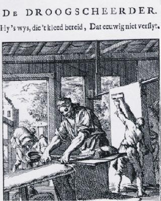 De Droogscheerder, Uit: Jan Luijken, Het Menselijck Bedrijf. Bibliotheek Rijksmuseum Amsterdam.