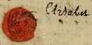 Zegel en handtekening van Elisabeth Busco-Marres uit 1760