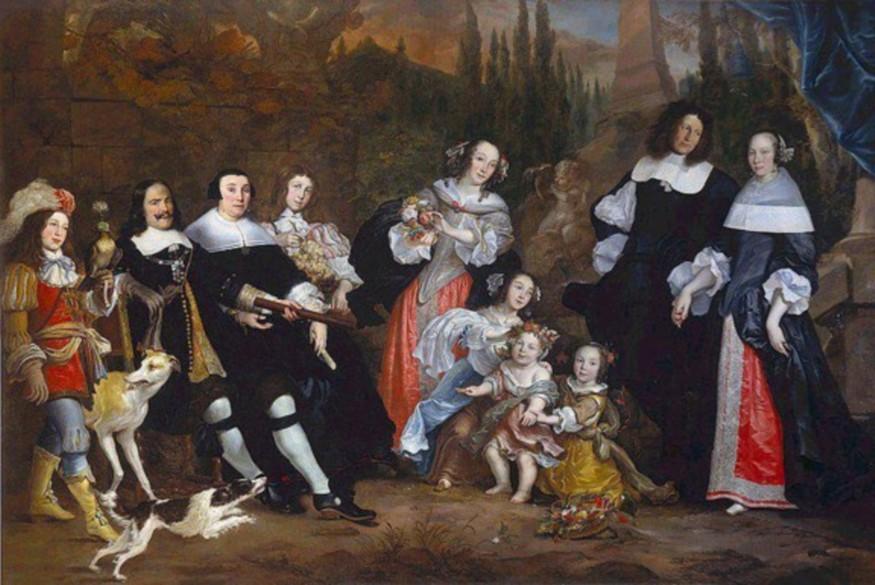 Het geschilderd portret van Michiel Adriaansz de Ruyter met zijn vrouw Anna van Gelder en hun kinderen, geschilderd door Jurriaen Jacobson in  1662, olieverf op doek, 227 x 406 cm.