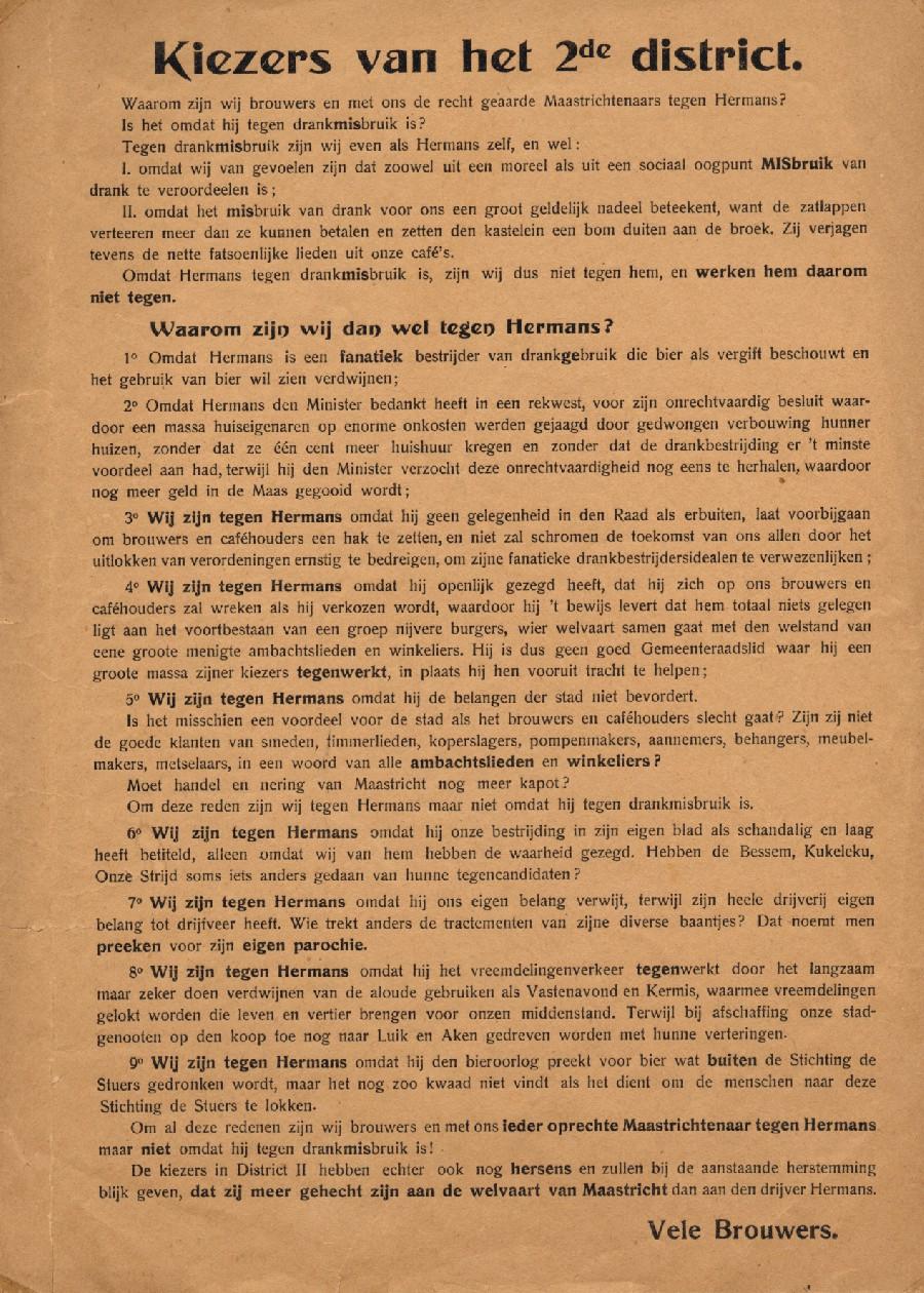 Verkiezingspamflet tegen Hermans