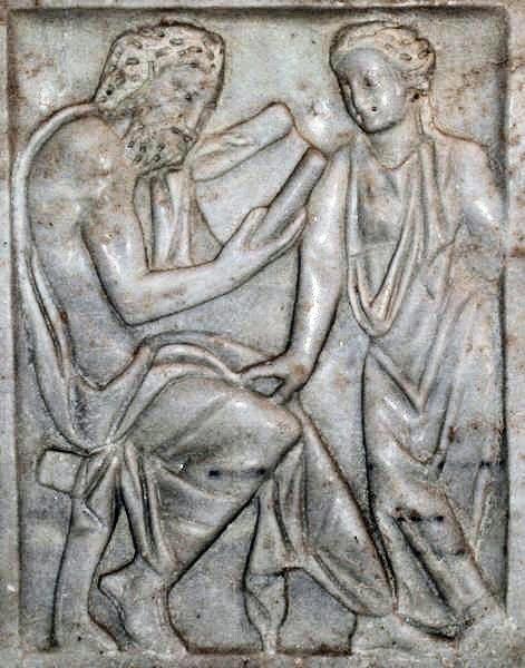 Leraar en leerling, Romeins sculptuur. © Livius org. onderwijs.