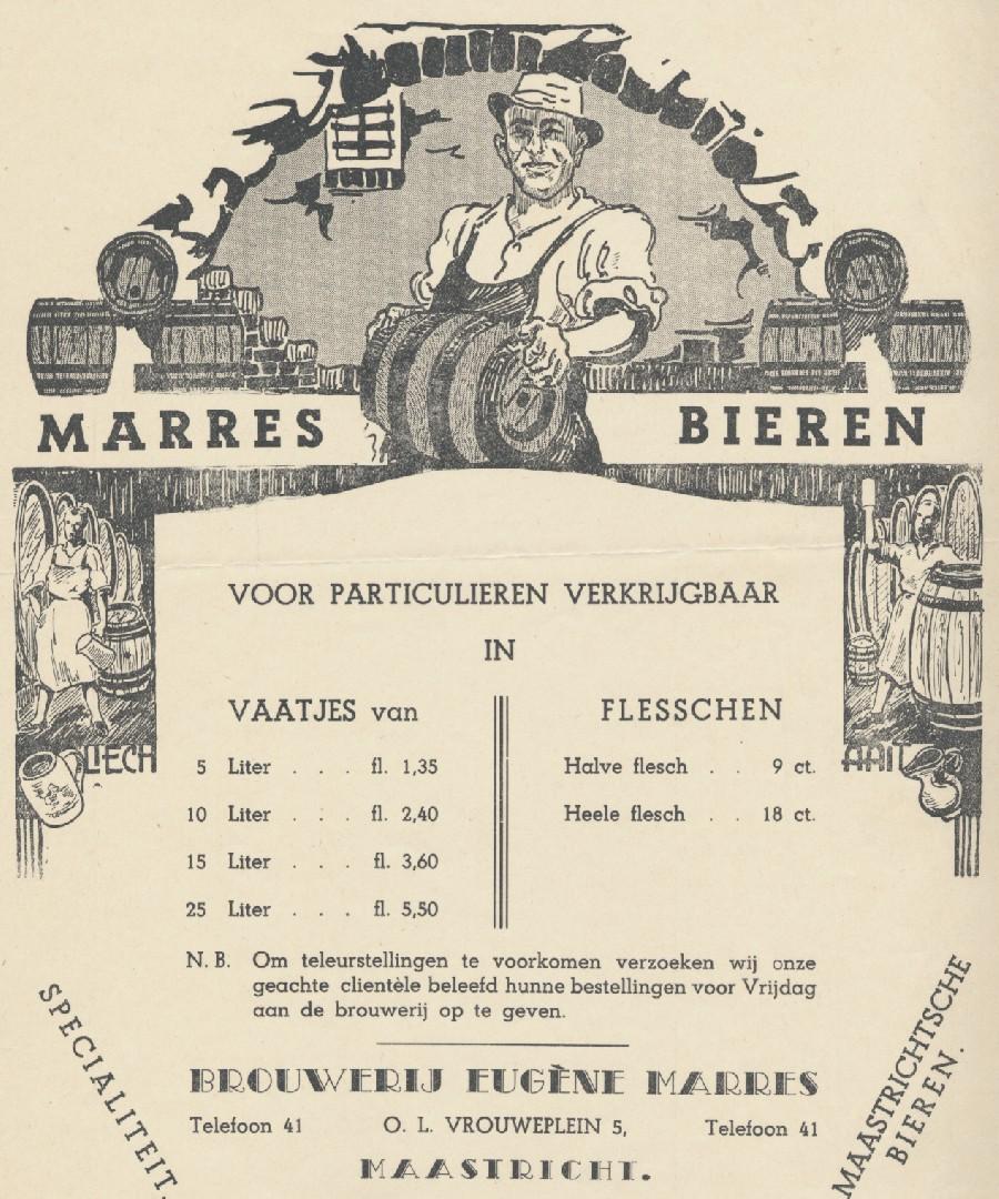 Prijslijst Marres bier