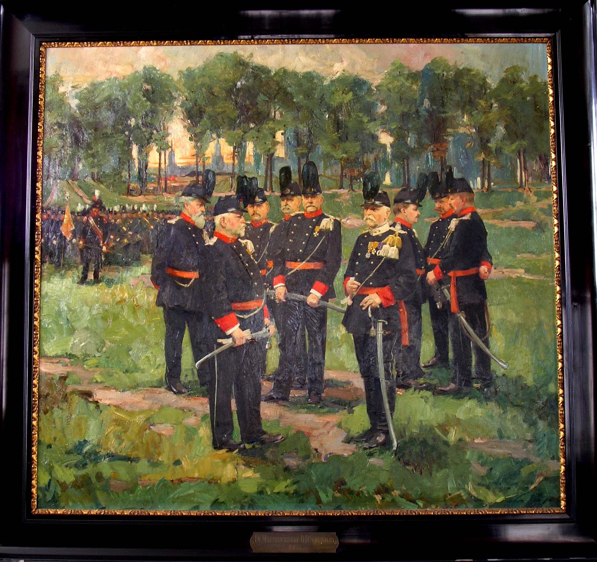 De officieren van de Dienstdoende Schutterij van Maastricht in 1905.