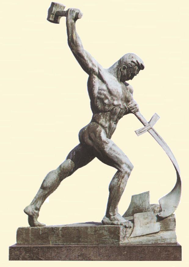 Laat ons zwaarden omsmeden tot ploegscharen, Evgeniy Vuchetich, Beeld in de tuin van het VN gebouw te New-York, gift van Rusland aan de Verenigde naties, in 1958