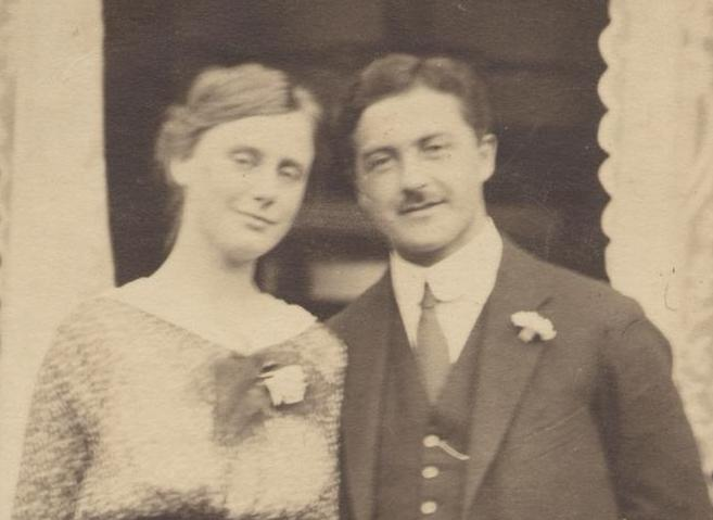 Het verloofde paar Thuur Marres en Molly Grasé, 1918