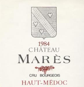 étiquette de vin du château Mares
