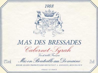 étiquette de vins du Mas des Bressades