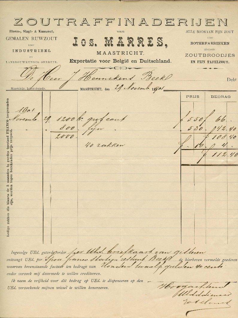 Briefpapier Zoutraffinaderij Jos Marres, 29 november 1901 Collectie Wil Lem.