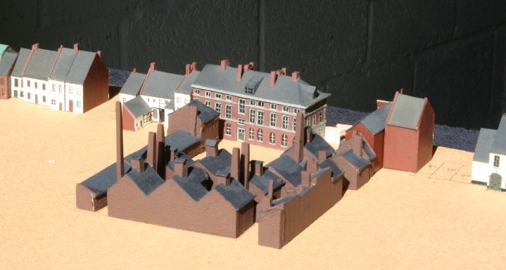 Maquette zoutziederij Marres Maastricht, achterzijde. gebouwd door de Stichting Maastricht 1867